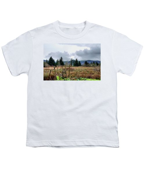 Field, Clouds, Distant Foggy Hills Youth T-Shirt