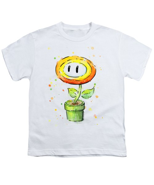 Fireflower Watercolor Youth T-Shirt by Olga Shvartsur