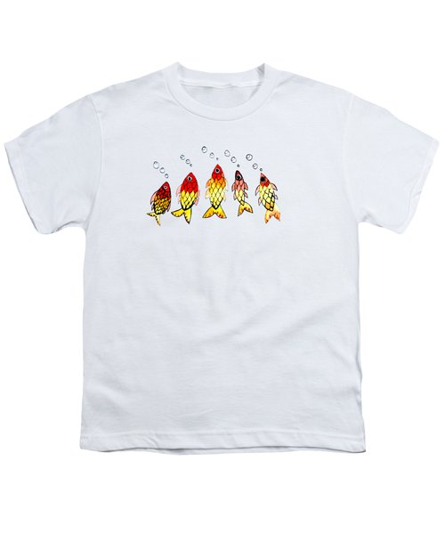 Five Bubble Fish Youth T-Shirt by Candace Ho