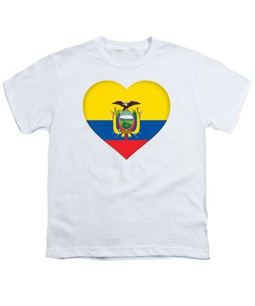 Flag Of Ecuador Heart Youth T-Shirt