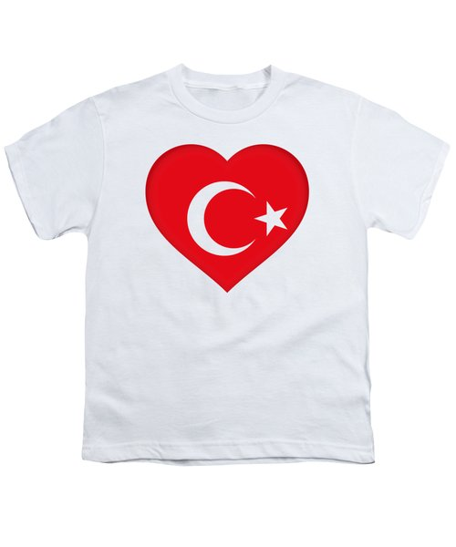 Flag Of Turkey Heart Youth T-Shirt by Roy Pedersen