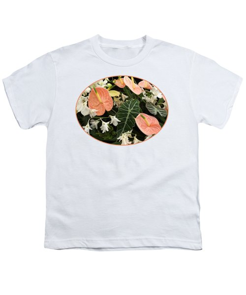 Flamingo Flowers And Orchids Youth T-Shirt by Gill Billington