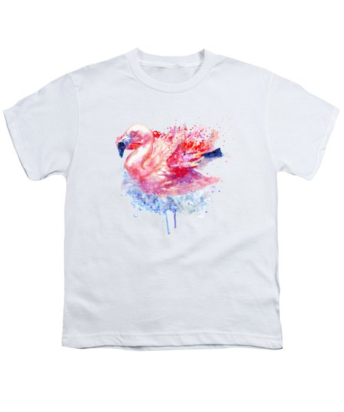 Flamingo On The Water Youth T-Shirt by Marian Voicu