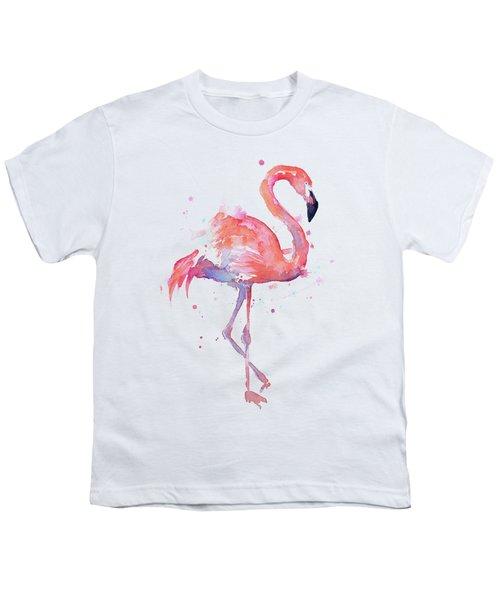 Flamingo Watercolor Facing Right Youth T-Shirt by Olga Shvartsur