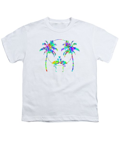 Flamingos In Love - Splatter Art Youth T-Shirt by SharaLee Art