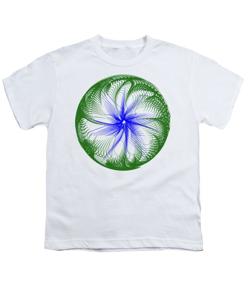 Floral Web - Green Blue By Kaye Menner Youth T-Shirt by Kaye Menner