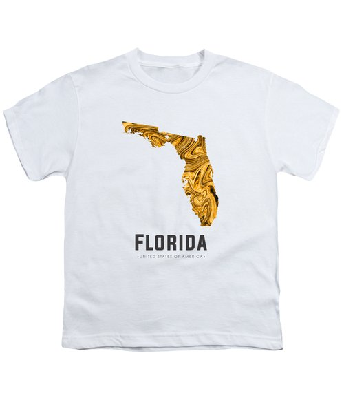 Florida Map Art Abstract In Yellow Gold Youth T-Shirt