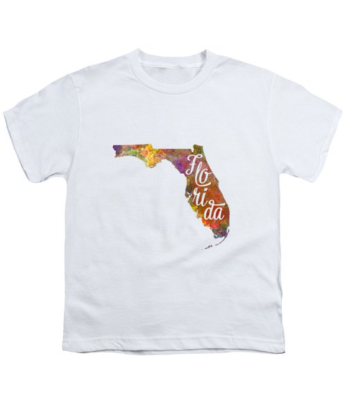 Florida Us State In Watercolor Text Cut Out Youth T-Shirt