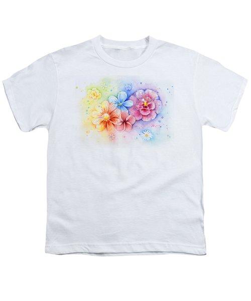 Flower Power Watercolor Youth T-Shirt by Olga Shvartsur