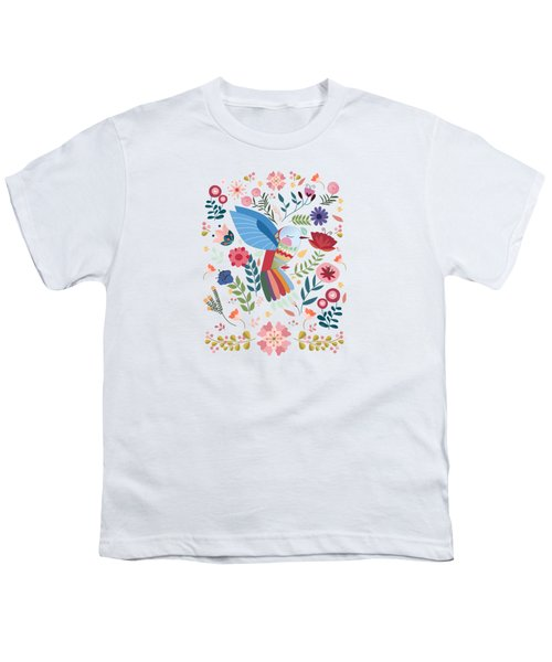 Folk Art Inspired Hummingbird In A Burst Of Springtime Blossoms Youth T-Shirt