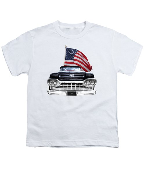 Ford F100 With U.s.flag On Black Youth T-Shirt