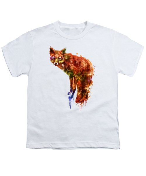 Foxy Lady Watercolor Youth T-Shirt by Marian Voicu