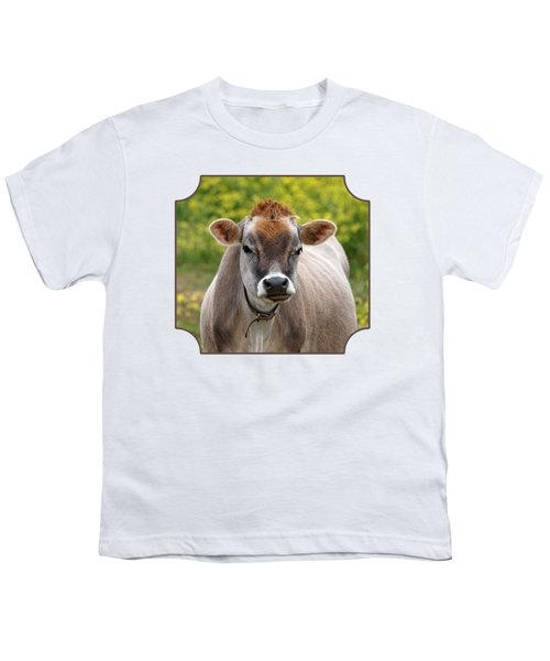 Funny Jersey Cow -square Youth T-Shirt by Gill Billington