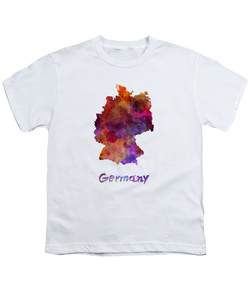 Germany In Watercolor Youth T-Shirt by Pablo Romero