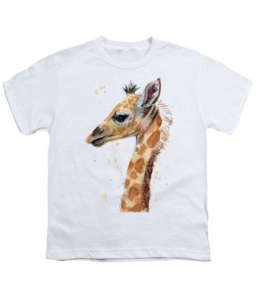 Giraffe Baby Watercolor Youth T-Shirt
