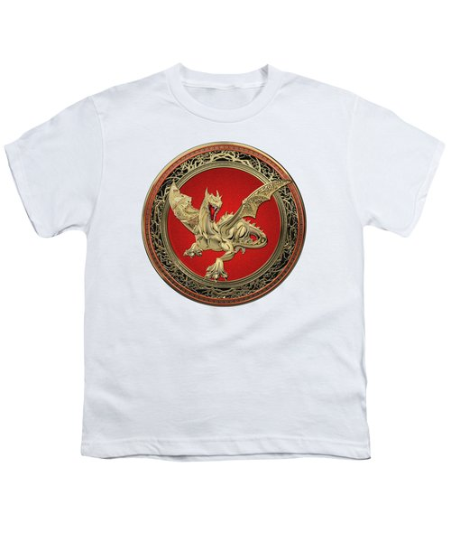 Golden Guardian Dragon Over White Leather Youth T-Shirt by Serge Averbukh