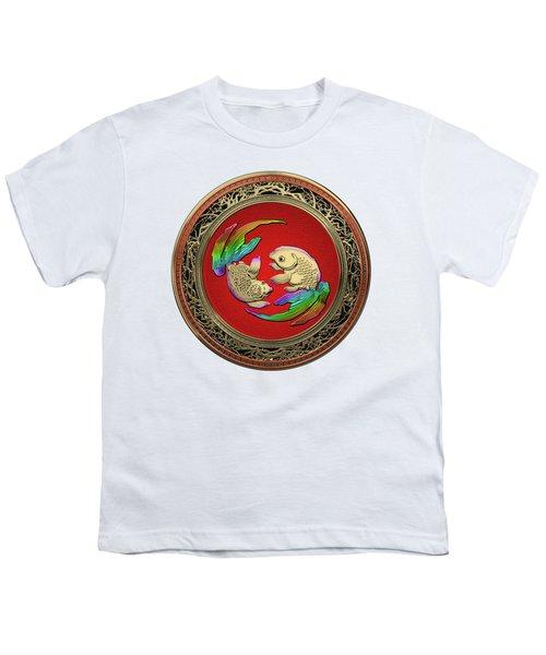Golden Japanese Koi Goldfish Over White Leather Youth T-Shirt