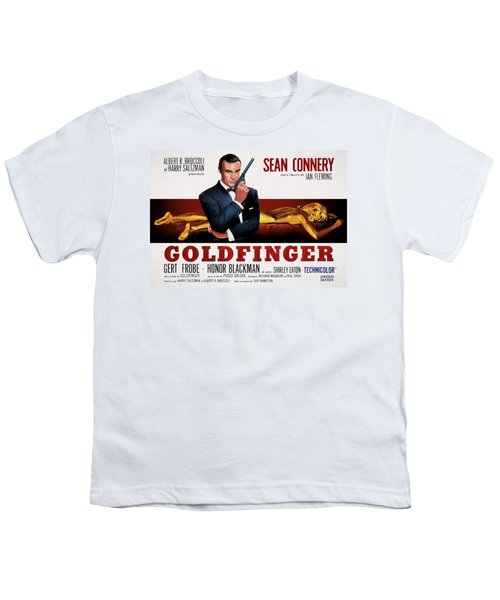 Goldfinger James Bond French Lobby Poster Painterly Youth T-Shirt by Daniel Hagerman