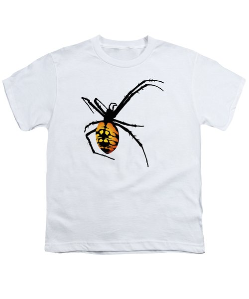Graphic Spider Black And Yellow Orange Youth T-Shirt