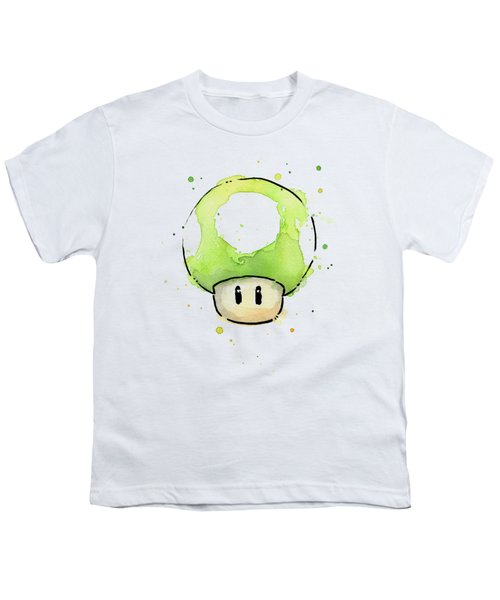 Green 1up Mushroom Youth T-Shirt by Olga Shvartsur