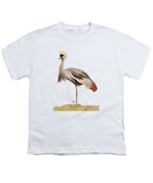 Grey Crowned Crane Youth T-Shirt by Angeles M Pomata