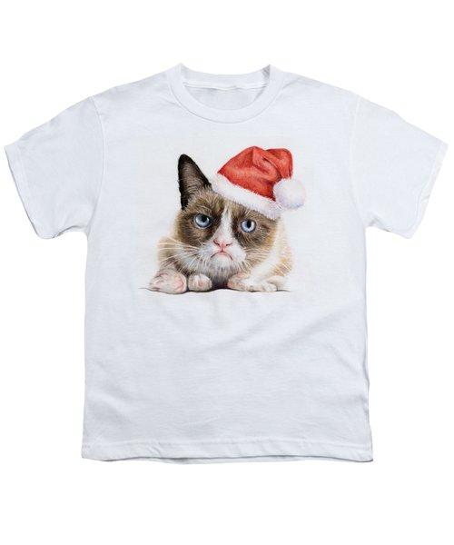 Grumpy Cat As Santa Youth T-Shirt