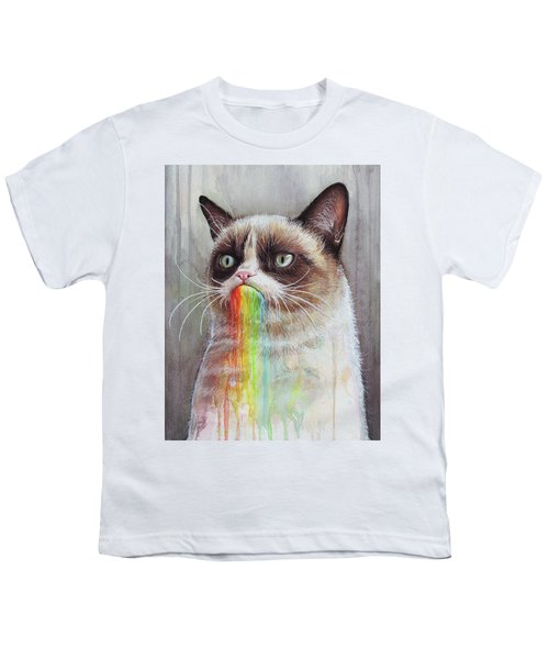 Grumpy Cat Tastes The Rainbow Youth T-Shirt