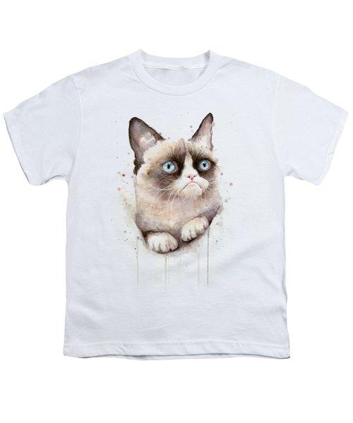Grumpy Cat Watercolor Youth T-Shirt by Olga Shvartsur