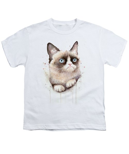 Grumpy Cat Watercolor Youth T-Shirt