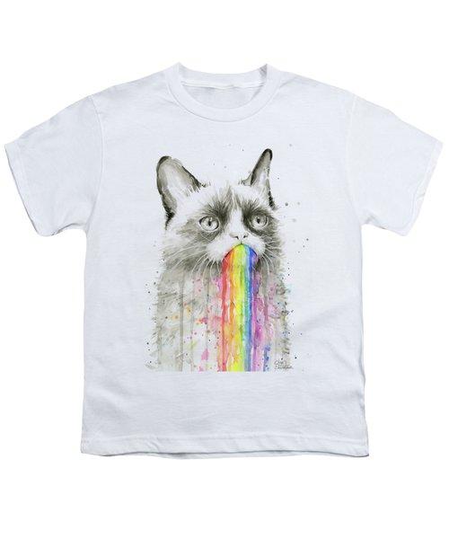 Grumpy Rainbow Cat Youth T-Shirt