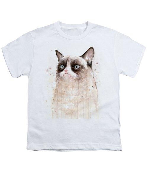 Grumpy Watercolor Cat Youth T-Shirt
