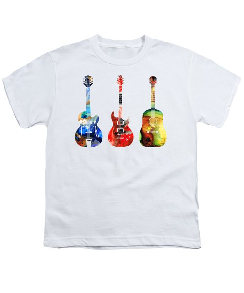 Guitar Threesome - Colorful Guitars By Sharon Cummings Youth T-Shirt by Sharon Cummings