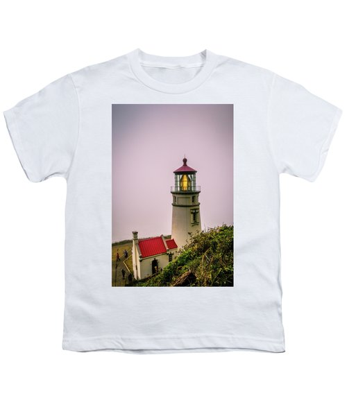 Heceta Head Lighthouse In The Fog Youth T-Shirt
