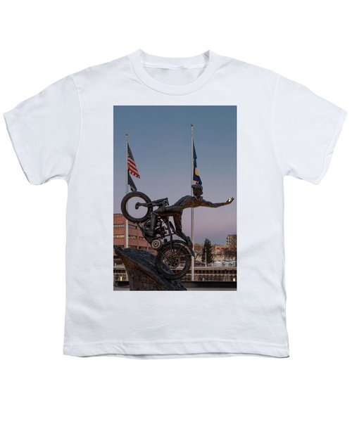 Youth T-Shirt featuring the photograph Hill Climber Catches The Moon by Randy Scherkenbach