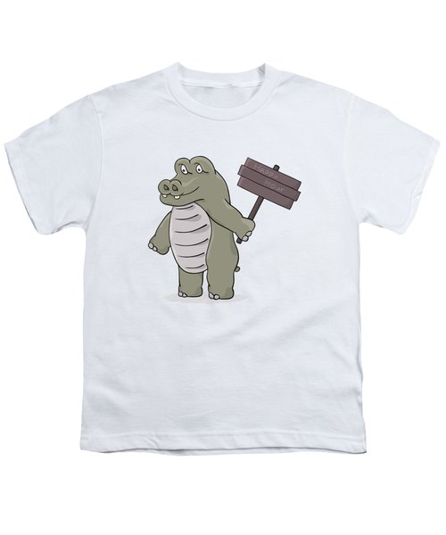 Hippopotamus With Happy Hour Sign Youth T-Shirt