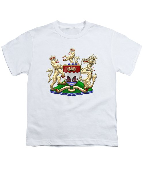 Hong Kong - 1959-1997 Coat Of Arms Over White Leather  Youth T-Shirt by Serge Averbukh