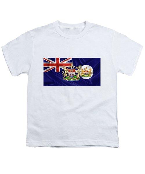 Hong Kong - 1959-1997 Historical Coat Of Arms Over British Hong Kong Flag  Youth T-Shirt by Serge Averbukh
