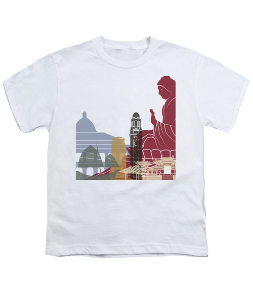 Hong Kong Skyline Poster Youth T-Shirt by Pablo Romero