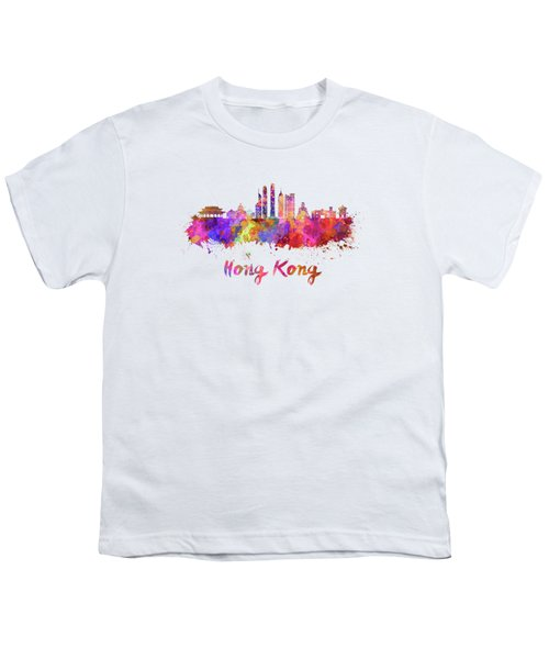 Hong Kong V2 Skyline In Watercolor Youth T-Shirt by Pablo Romero