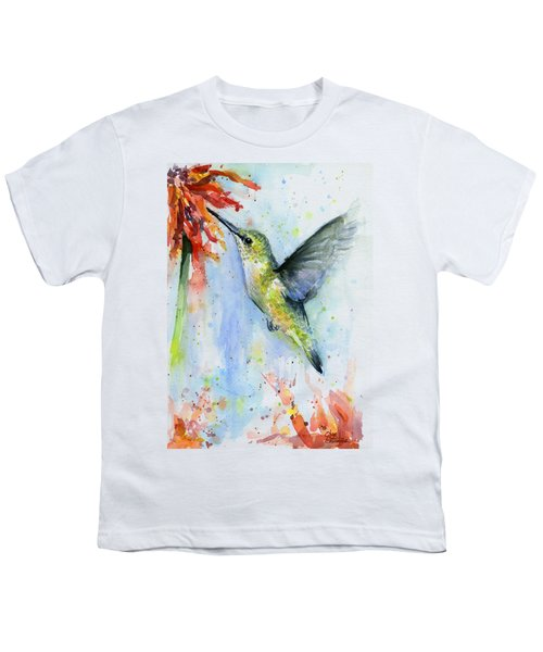 Hummingbird And Red Flower Watercolor Youth T-Shirt
