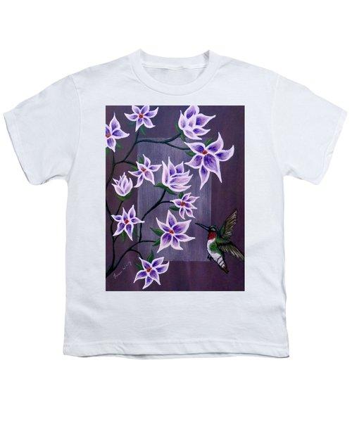 Hummingbird Delight Youth T-Shirt by Teresa Wing
