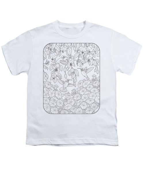 Hummingbirds And Flowers Coloring Page Youth T-Shirt by Crista Forest
