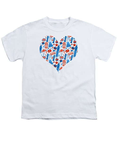 I Love England A Pattern For Anglophiles Youth T-Shirt