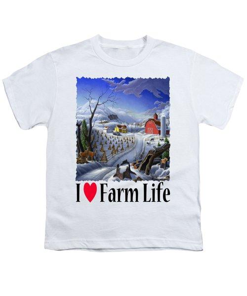 I Love Farm Life - Rural Winter Country Farm Landscape Youth T-Shirt