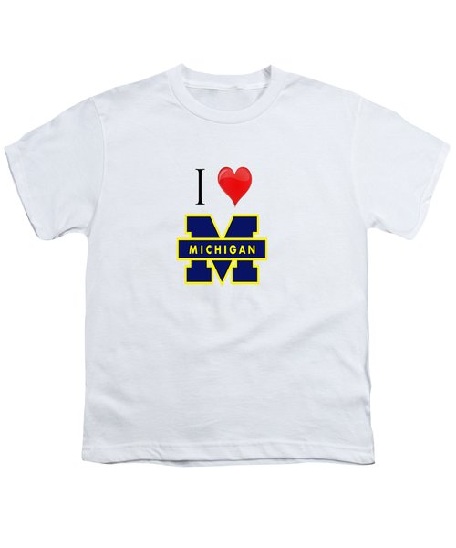 I Love Michigan Youth T-Shirt by Pat Cook