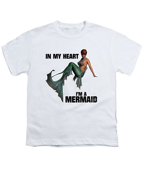In My Heart I'm A Mermaid Youth T-Shirt by Esoterica Art Agency