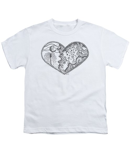 Youth T-Shirt featuring the drawing Repaired Heart by Ana V Ramirez