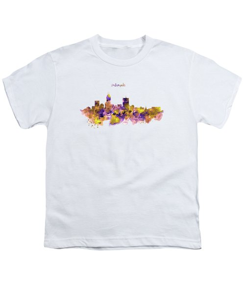 Indianapolis Skyline Silhouette Youth T-Shirt by Marian Voicu