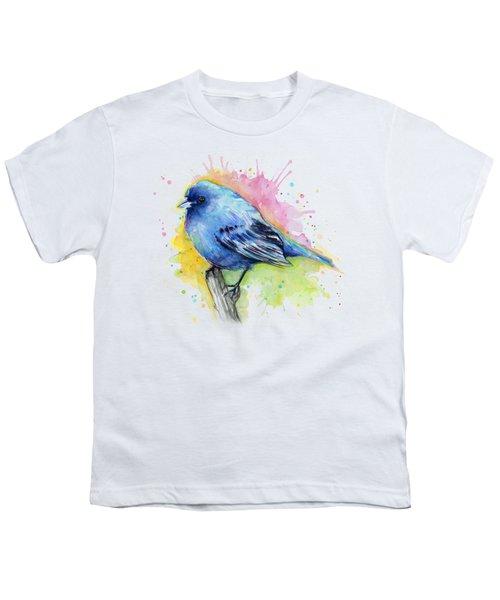 Indigo Bunting Blue Bird Watercolor Youth T-Shirt by Olga Shvartsur