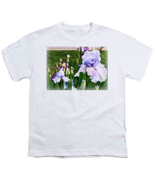 Iris At Fence Youth T-Shirt by Larry Bishop